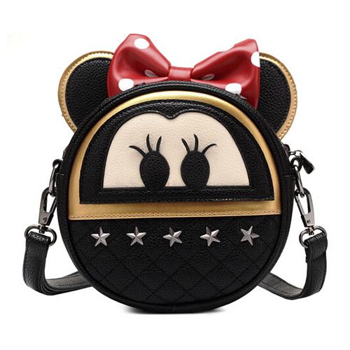Fashion  Zipper Design Mickey Mouse Shaped Black PU Slanting Bag