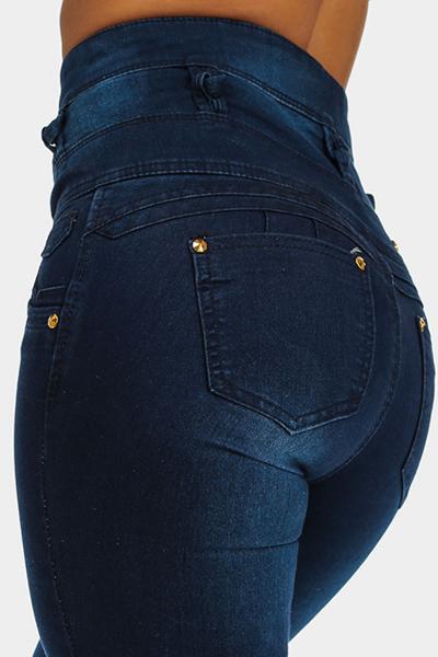 Elegante Diseño De La Mosca De Botón De Talle Alto Jeans Ajustados De Mezclilla Azul