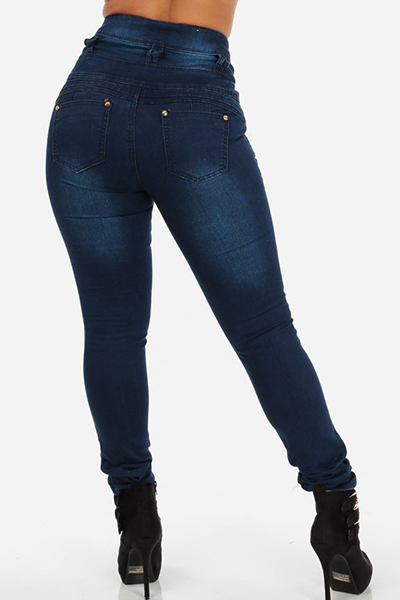 Stylish High-Waisted Button Fly Design Blue Denim Skinny Jeans