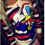 Fashion Donald Duck Print Long Sleeves Polyester P