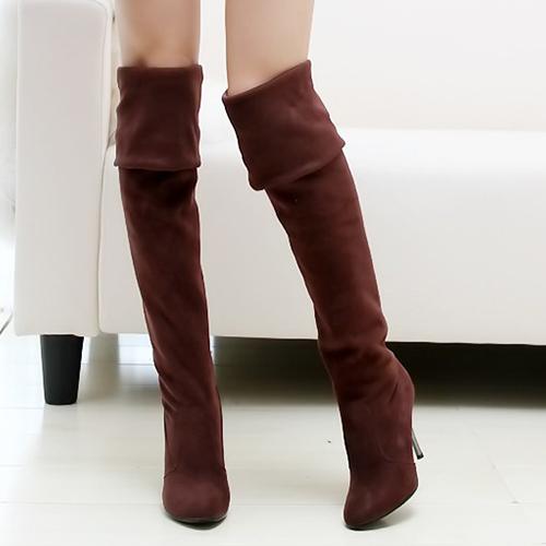 Inverno Moda Rodada Toe Slip No Salto Alto Stiletto De Camurça Marrom Sobre As Botas Cavalier Do Joelho