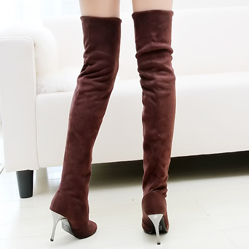 Winter Fashion Round Toe Slip on Stiletto High Heel Brown Suede Over the Knee Cavalier Boots