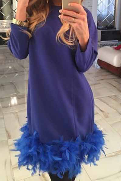 Fashion O Neck Long Sleeves Fur Design Blue Polyester Sheath Mini Dress