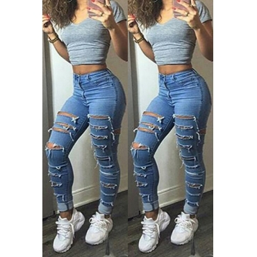 Fashion Mid Waist Button Fly Broken Holes Blue Denim Skinny Jeans