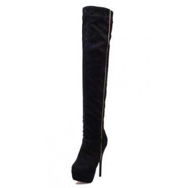 Fashion Winter Round Toe Slip On Patchwork Stiletto Super High Heel Black PU Over The Knee Cavalier Boots