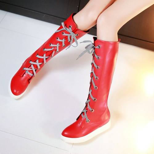 Fashion Spring Autumn Round Toe Lace Up Flat Low H