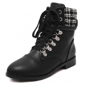Winter Round Toe White Plaids Patchwork Lace Up Pl