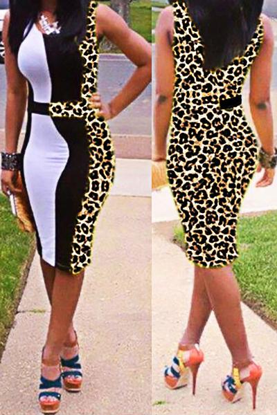 Cheap Sexy O Neck Tank Sleeveless Patchwork Leopard Polyester Sheath Mini Dress