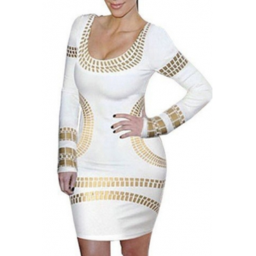 Trendy O Neck Long Sleeves Bronzing Print White Cotton Blend Sheath Mini Dress