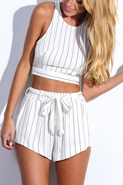 Cheap Sexy Striped White Polyester Two-piece Regular Two-piece Outfits