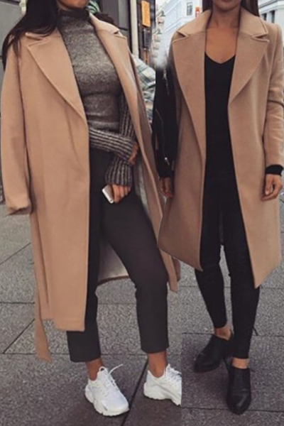 Fashion Turndown Collar Long Sleeves Khaki Woolen Overcoat