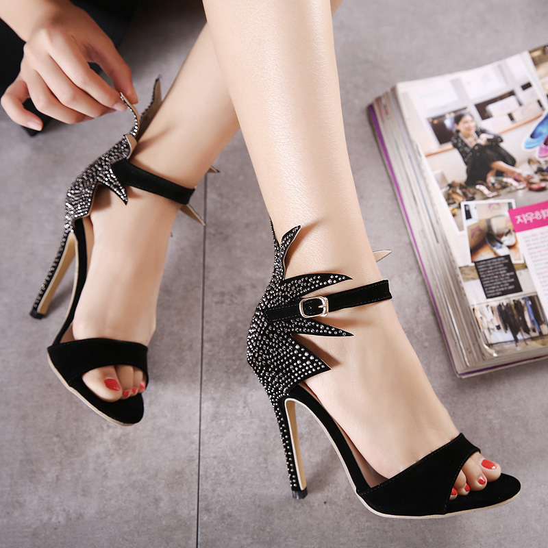b13b0000beb8 Stylish Point Toe Rhinestone Decorate Stiletto Super High Heel Black PU  Ankle Strap Sandals