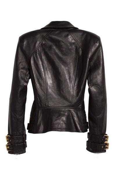 Stylish Turndown Collar Long Sleeves Zipper Design Black PU Short Coat