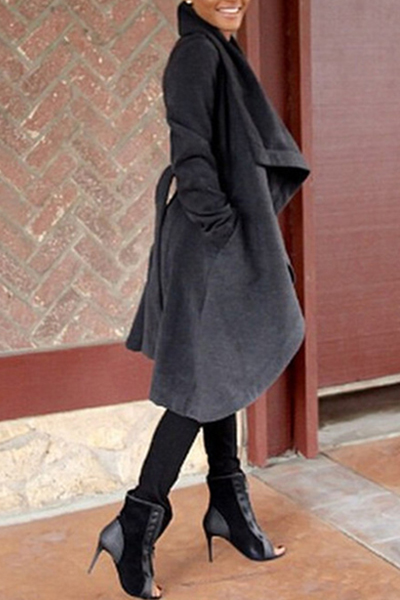 Trendy Turndown Collar Long Sleeves Black Long Wool Coat