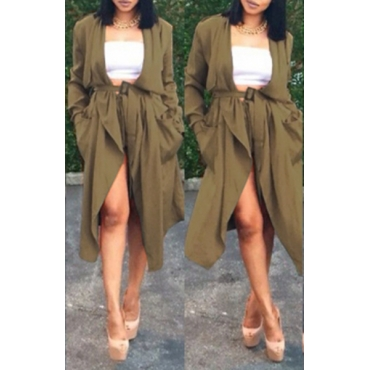 Trendy Turndown Collar Long Sleeves Green Polyester Long Trench Coat without Shorts