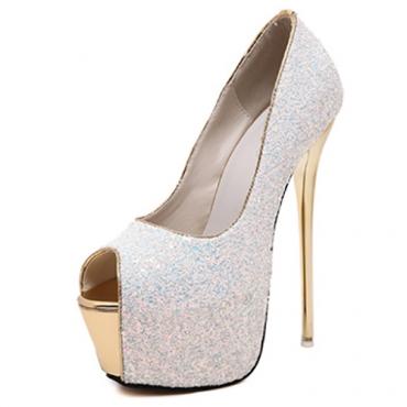 Elegante Round Peep Toe Design Sequined Stiletto Super High Heel Branco PU Bombas Básicas