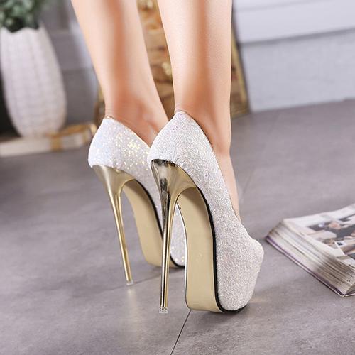 Stylish Round Peep Toe Sequined Design Stiletto Super High Heel White PU Basic Pumps