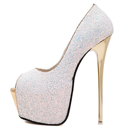 Bombas Rodada elegante Peep Toe lantejoulas design Stiletto Super High Heel Branco PU Básico