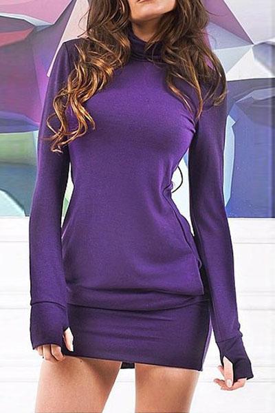 Simple Turtleneck Long Sleeves Cherrykeke Purple Spandex ...