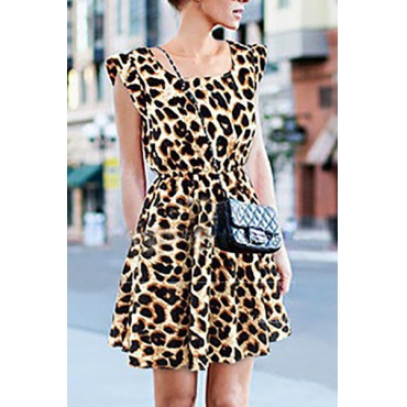 Trendy Women's Sleeveless Printed Leopard Dress
