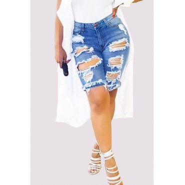 Jeans/2017 New Arrival Stylish Mid Waist Broken Holes Blue Cotton Blends Shorts