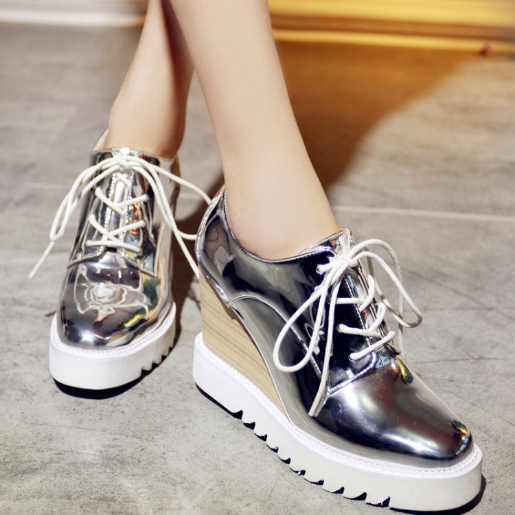Sweet Style Square Closed Toe Lace-up Wedges Super High Heel Silver PU Basic Pumps