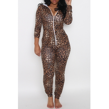 Casual Long Sleeves Zipper Design Leopard Polyester One-piece Skinny Jumpsuits