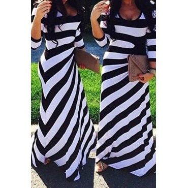 Casual O Neck Three Quarter Sleeve Striped Cotton Blend Sheath Ankle Length Dress