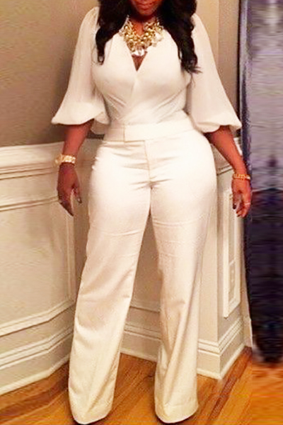Euramerican V Neck Half Sleeves White Spandex One-piece Jumpsuits