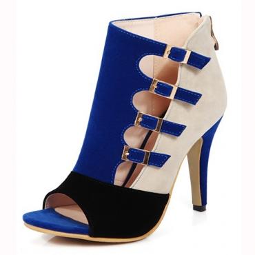 Стильный открытым носком Пряжка Цвет Блок Лоскутная стилет Супер Высокий каблук Синий PU Основные насосы
