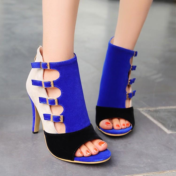 Stylish Open-Toed Buckle Color Block Patchwork Stiletto Super High Heel Blue PU Basic Pumps