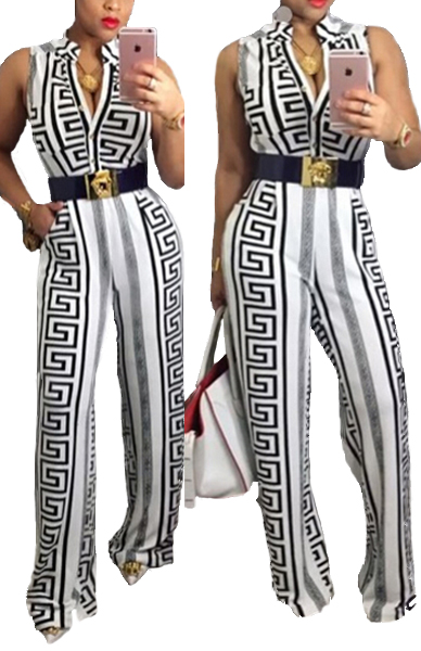 Trendy O Neck Tank Sleeveless Geometric Print White Polyester One-piece Jumpsuits