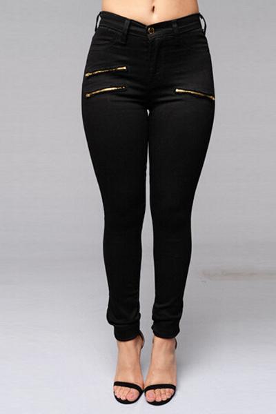 Trendy Mid Waist Zippered Decoration Black Denim Skinny Pants