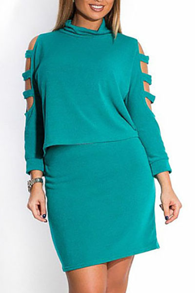Stylish O Neck Long Sleeves Shoulder Hollow-out Green Cotton Blend Two-piece Skirt Set