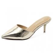 Stylish Pointed Closed Toe High Heel Golden PU Sli