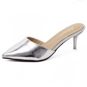 Stylish Pointed Closed Toe High Heel Silver PU Sli