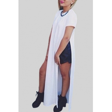 Fashion O Neck Short Sleeve Ankle Length White Cotton Dress