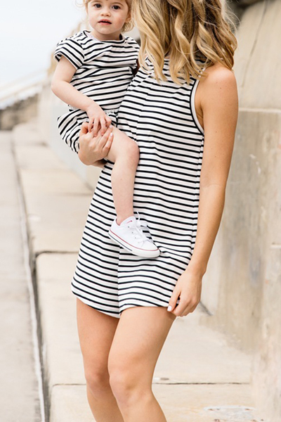 Casual O Neck Tank Sleeveless White Striped Cotton Blend One-piece Jumpsuits (Only Children's)