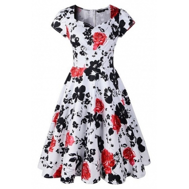 Stylish V Neck Short Sleeves Floral Print Red Cotton Blend Ball Gown Knee Length Dress