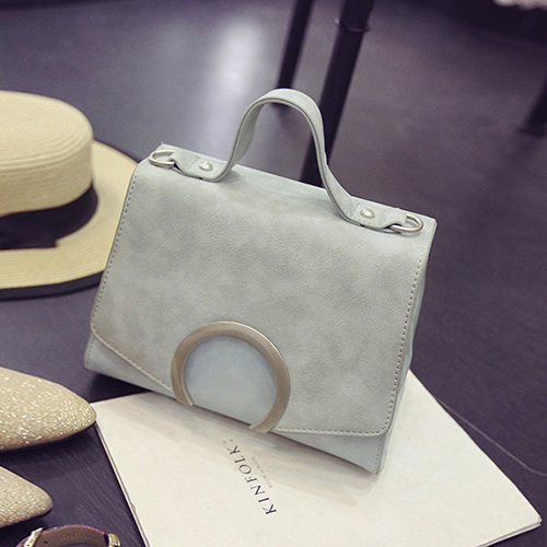 Trendy Zipper Design Metal Decorative Light Blue PU Crossbody Bag