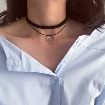 Stylish Triangle-Shaped Design Silver Metal Necklace