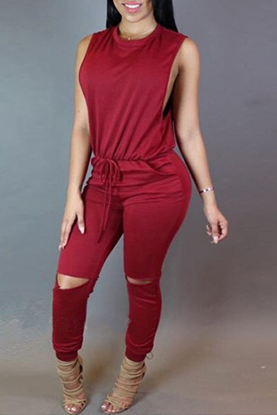 Stylish Round Neck Sleeveless Broken Holes Zipper Design Red Polyester One-piece Jumpsuits