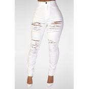 Trendy High Waist Broken Holes Jeans skinny en denim blanc