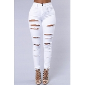 Stylish High Waist Broken Holes White Cotton Blends Skinny Pants Jeans