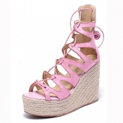 Stylish Open Toe Lace-up Hollow-out Wedge Super Hi