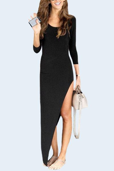 Fashion O Neck Three Quarter Sleeves Asymmetrical Black Spandex Sheath Ankle Length Dress