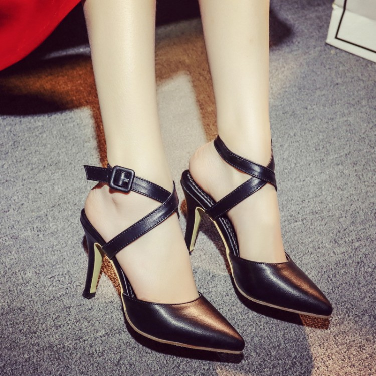 Trendy Pointed Closed Toe Bandage Stiletto Super High Heel Black PU Cross Strap Pumps