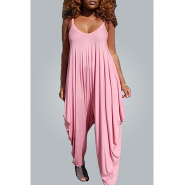 Casual U-shaped Neck Spaghetti Strap Sleeveless  Asymmetrical Pink Cotton Blends One-piece Jumpsuits