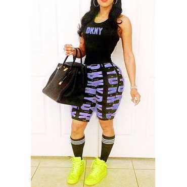 Casual O Neck Sleeveless Letters Printed Black Polyester Two-piece Shorts Set