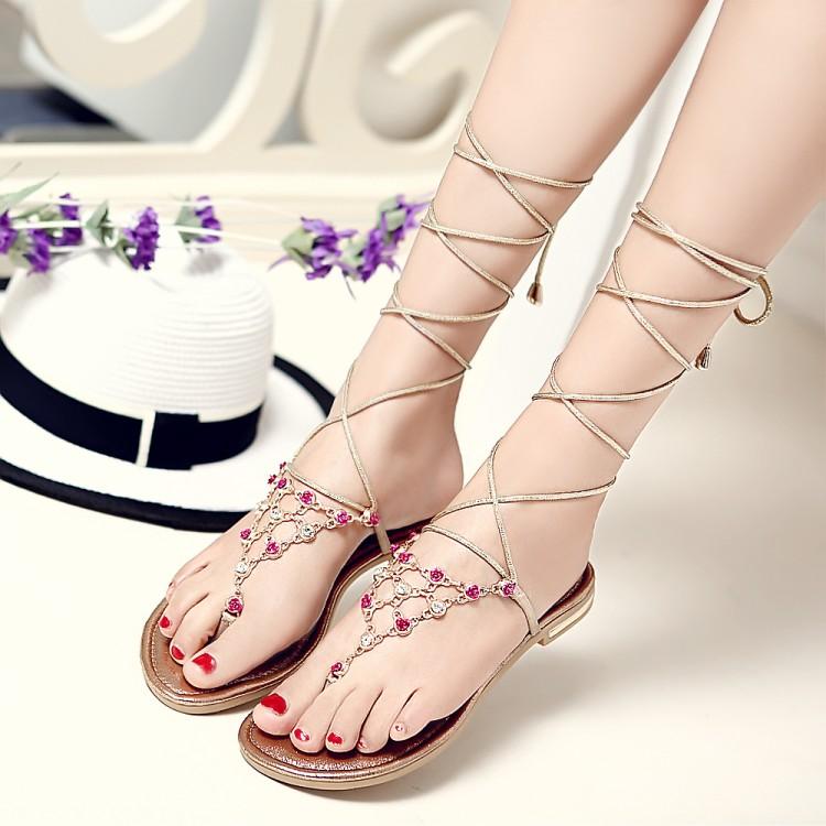 Stylish Open Toe T-Shaped Bandage Rhinestone Decorative Flat Low Heel Golden PU Gladiator Sandals